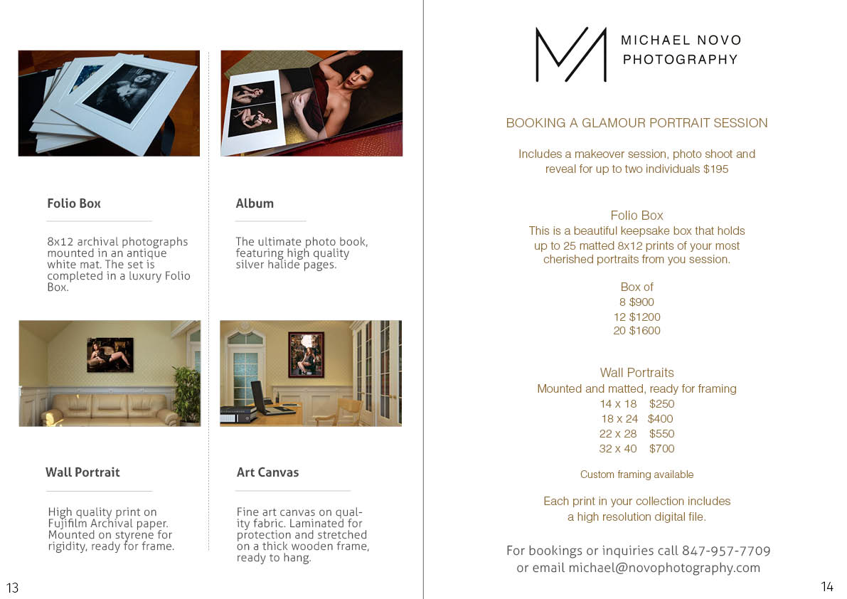 Portrait Pricing for Michael Novo Photography