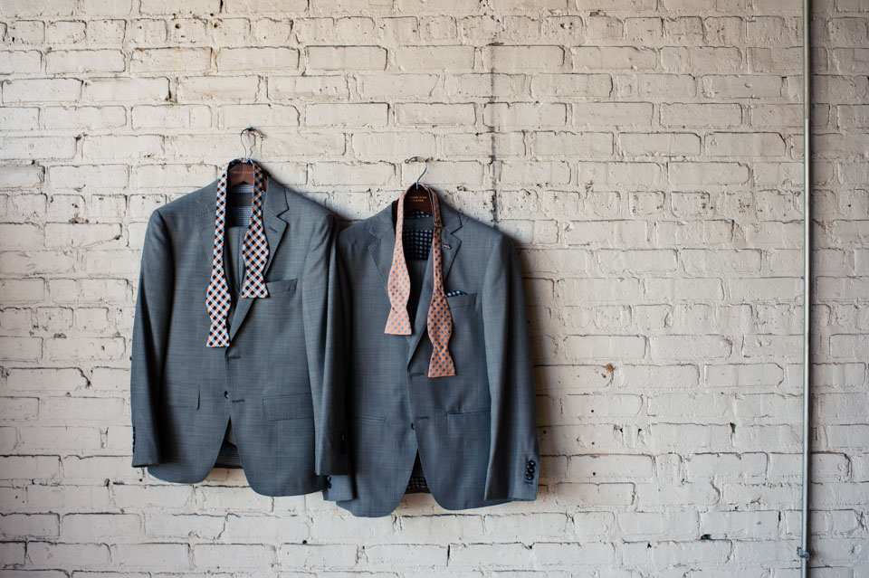 Grooms suits at Salvage One