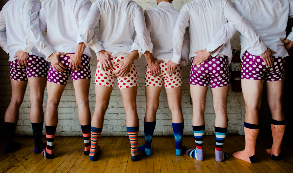 Groomsmen wearing polka dot boxers