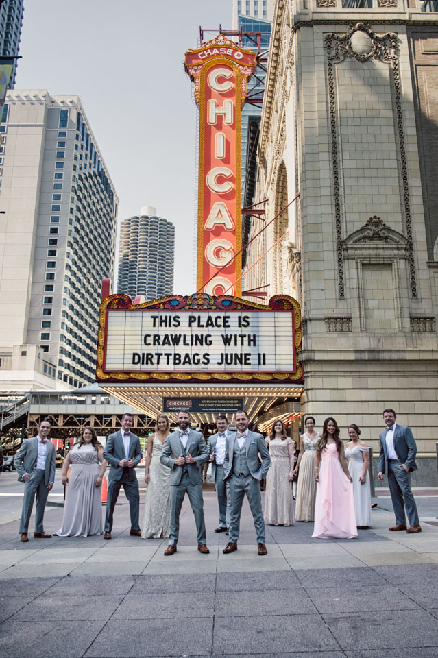Bridal party at Chicago Theater