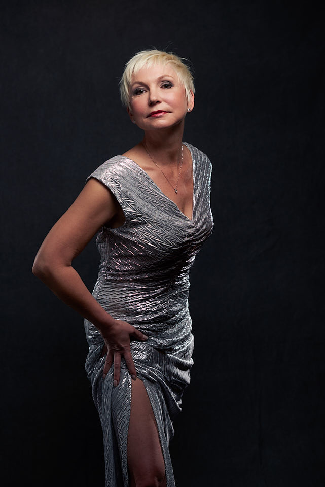Silver dress glamour portrait