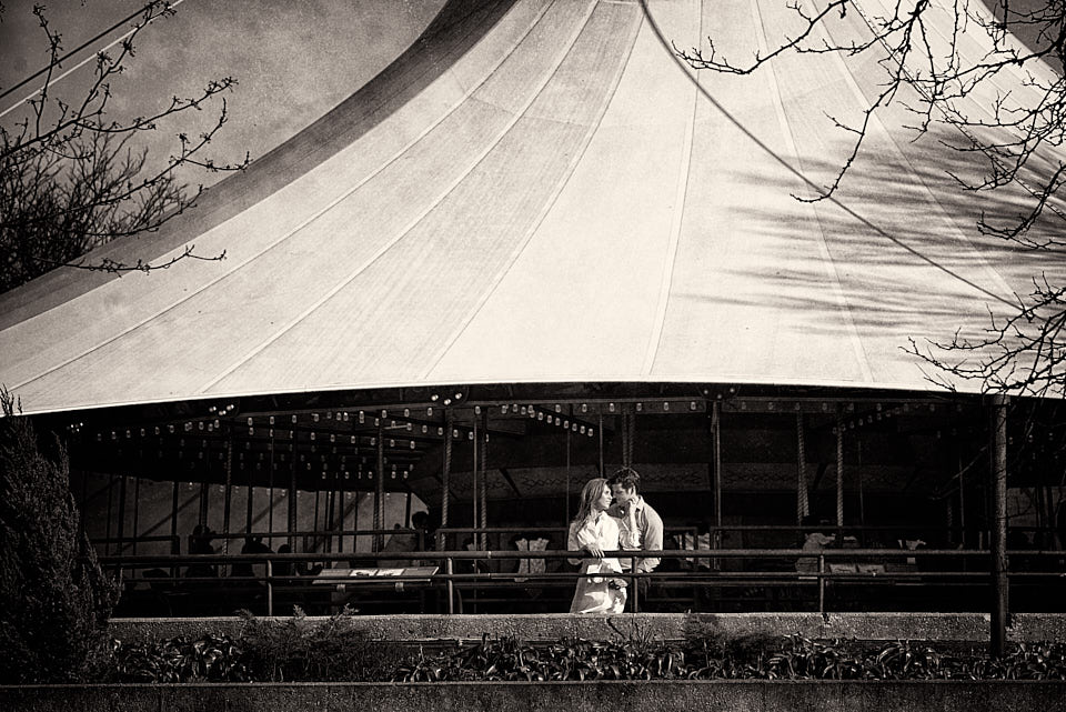 Lincoln Park Zoo carousel with engaged couple