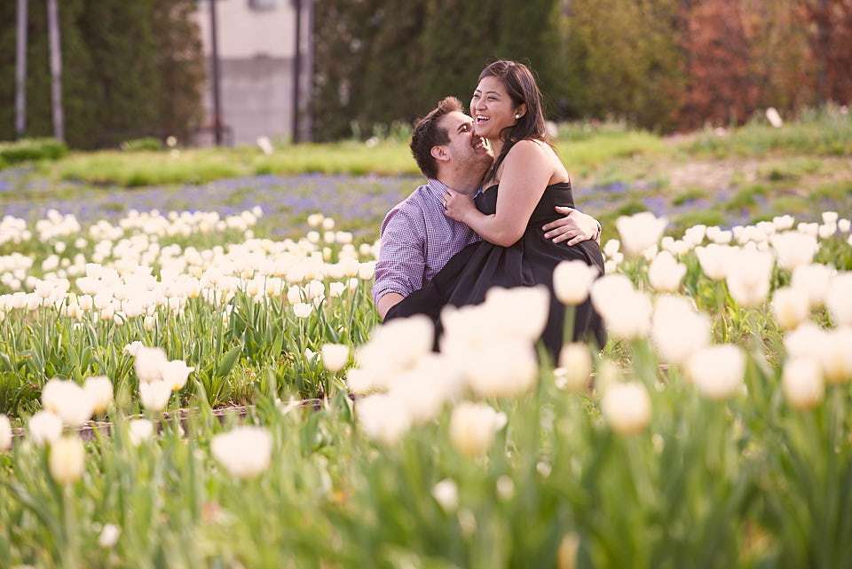 Fun engagement portrait at Lurie Garden