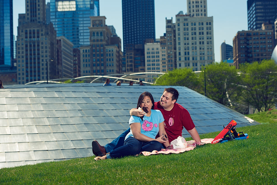 Millenium Park engagement session picnic with Stan's Donuts