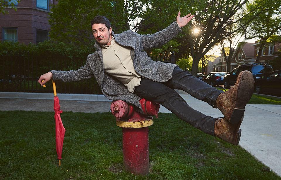 Yuri Sardarov posing with fire hydrant