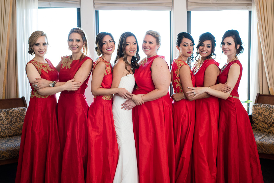 Bride and bridesmaids group portrait