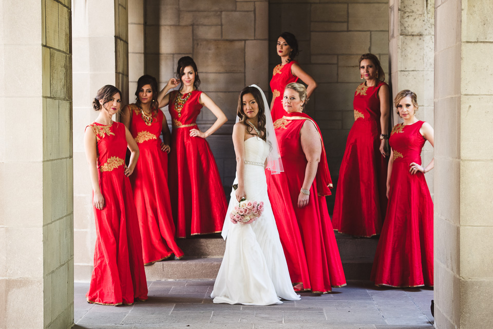 Bridesmaids portrait at Fourth Presbyterian Church