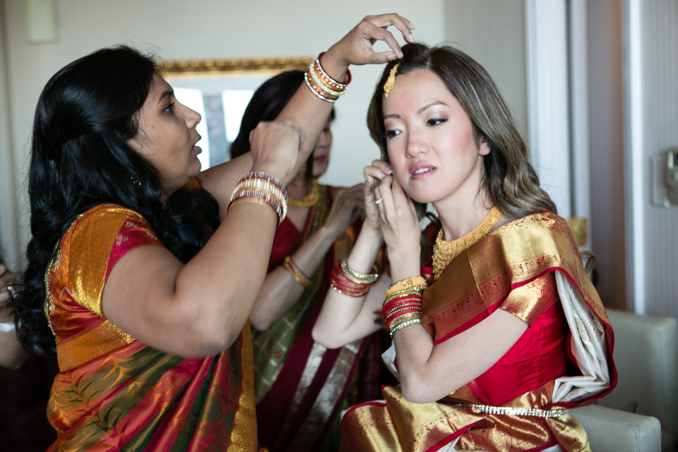 Bride getting ready for Indian wedding ceremony