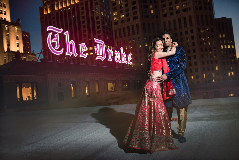 Rooftop wedding portrait with Drake Hotel sign