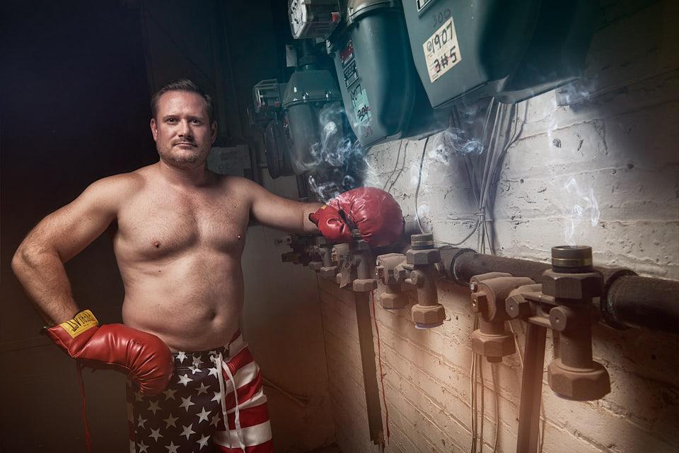 Sexy boxer dark portrait