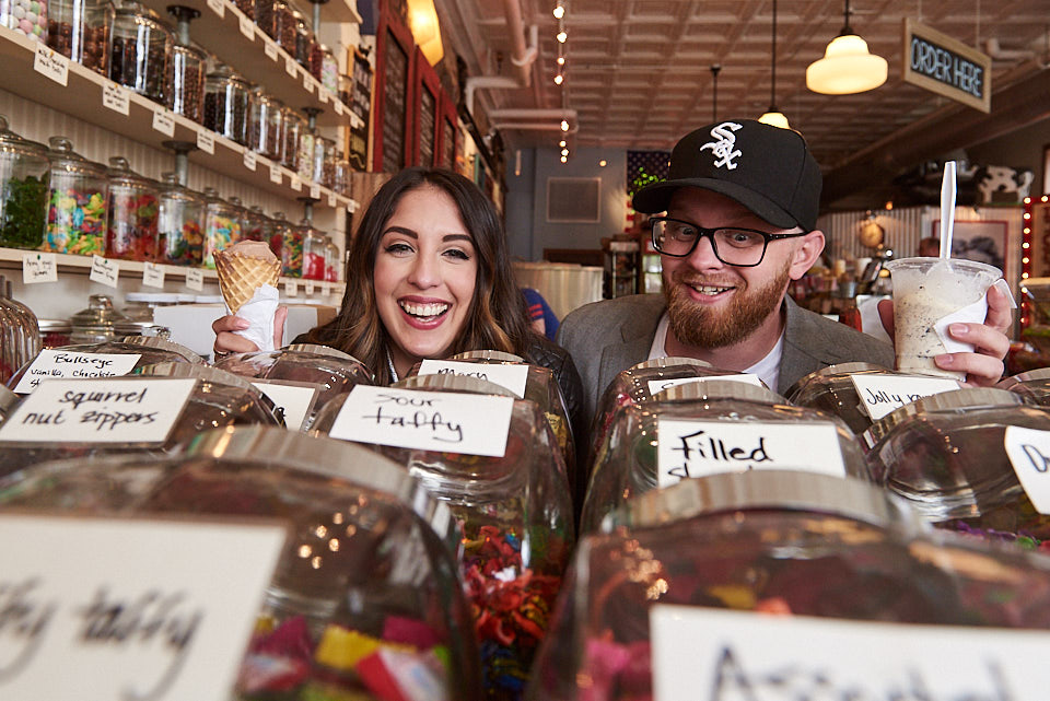 Lickity Split candy jars engagement portrait