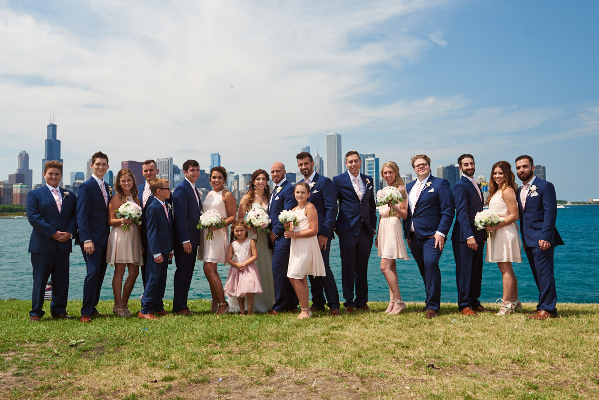 Wedding party along Chicago skyline