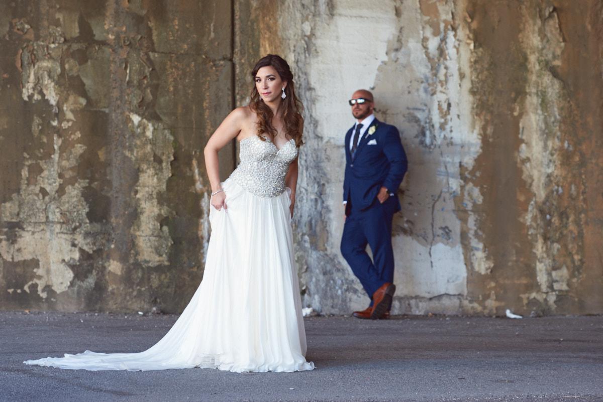Kinzie Street Bridge wedding portrait