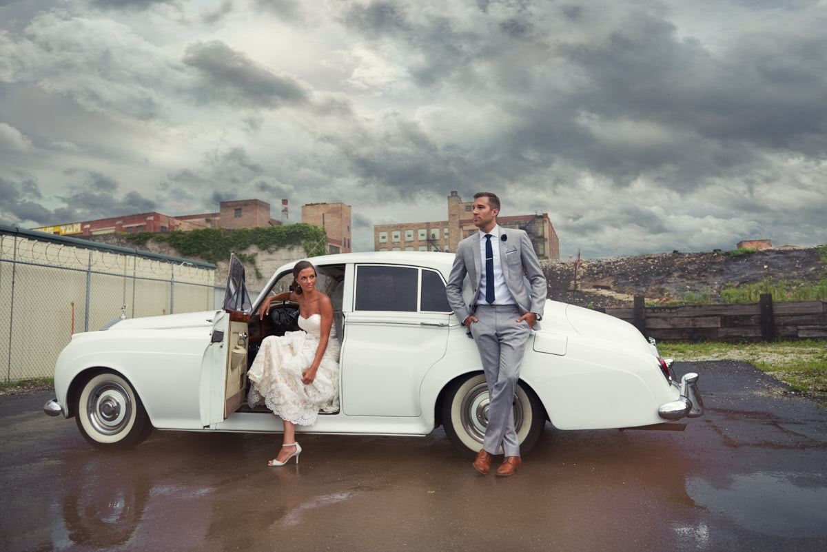 Bride and Groom portrait with Rolls Royce