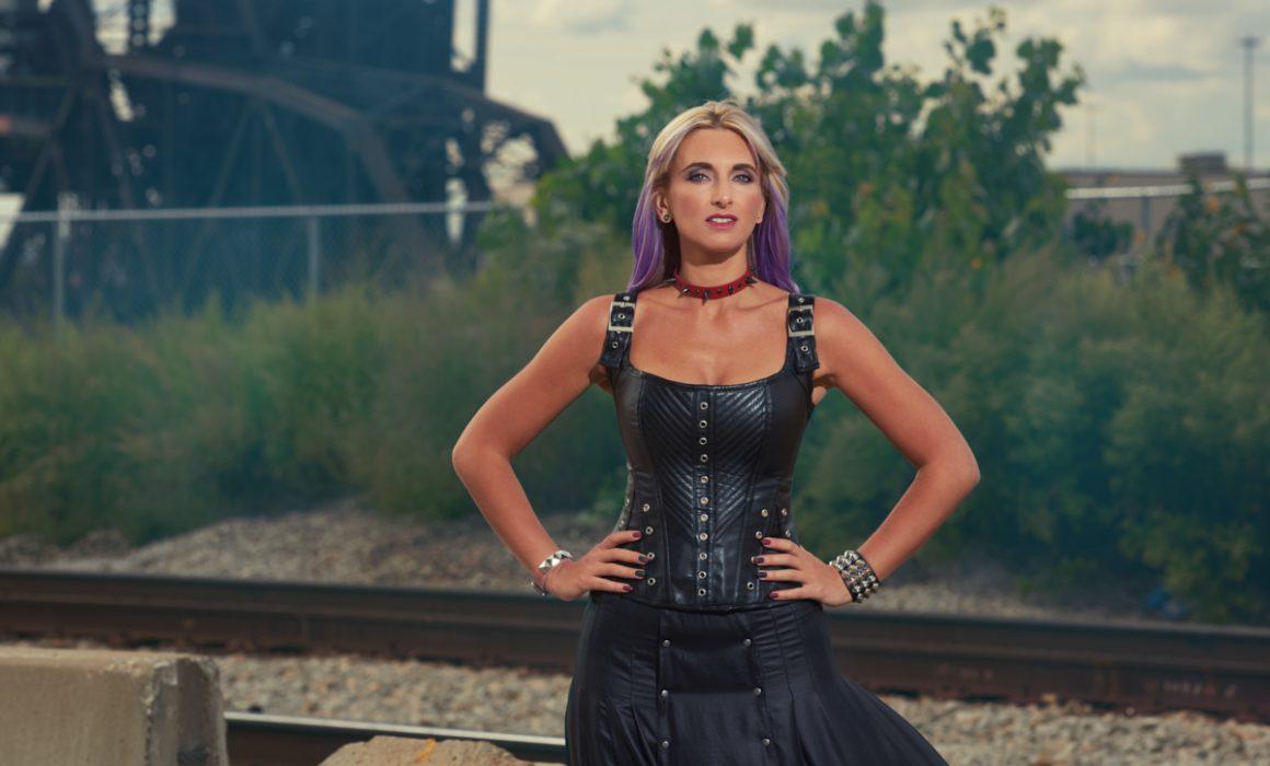 Black corset sexy dominatrix