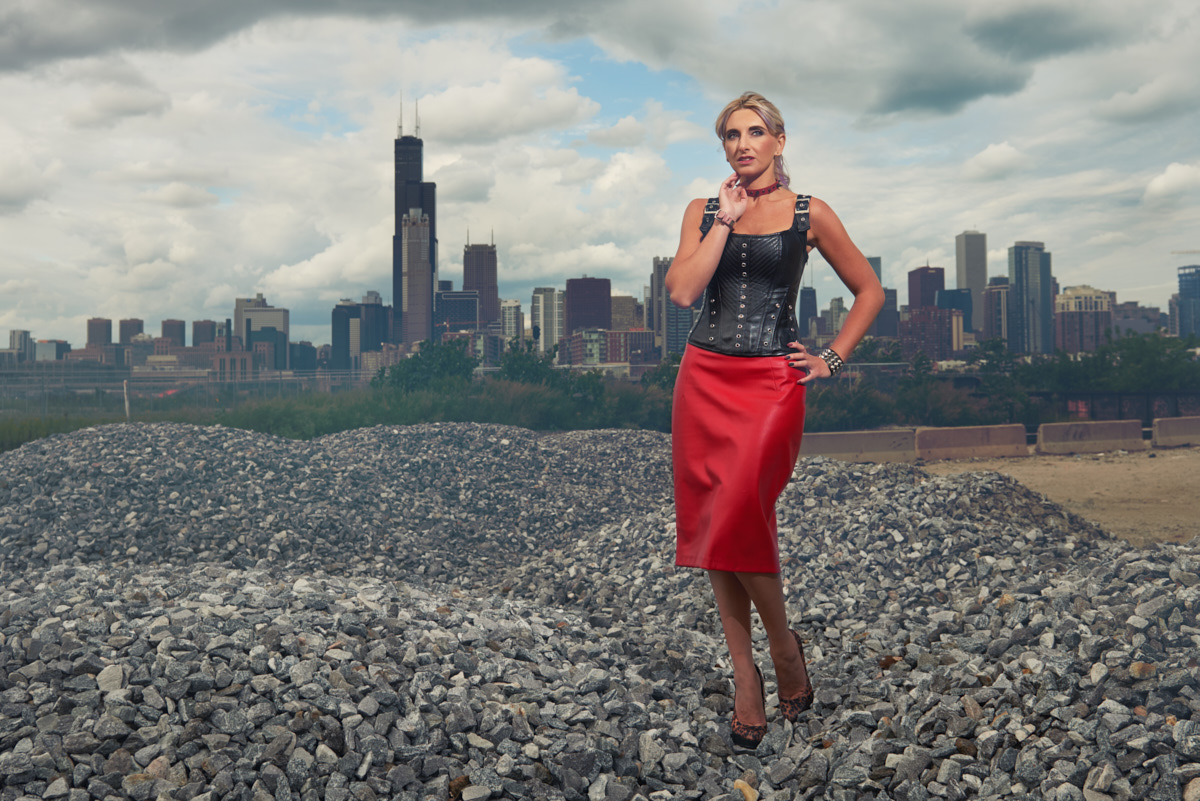 Red skirt glamour portrait southside of Chicago