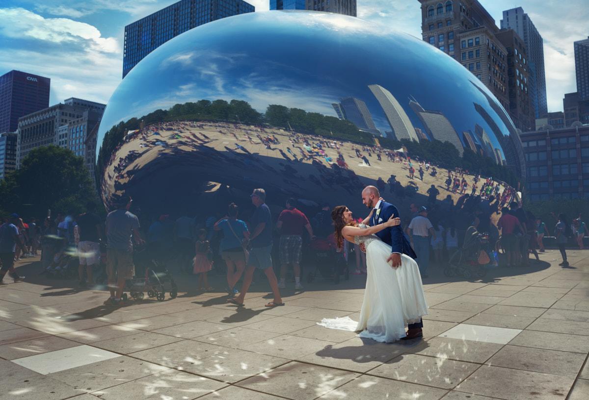 Wedding portrait at The Bean - Cloudgate