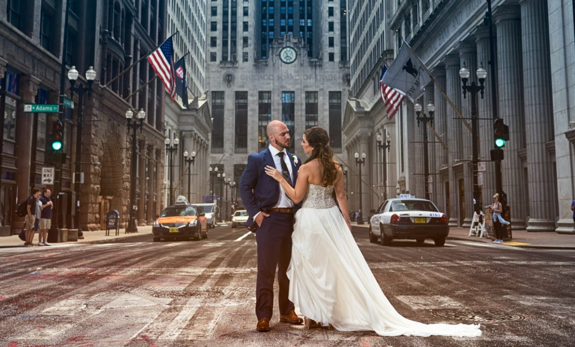 Chicago Stock Exchange wedding portrait