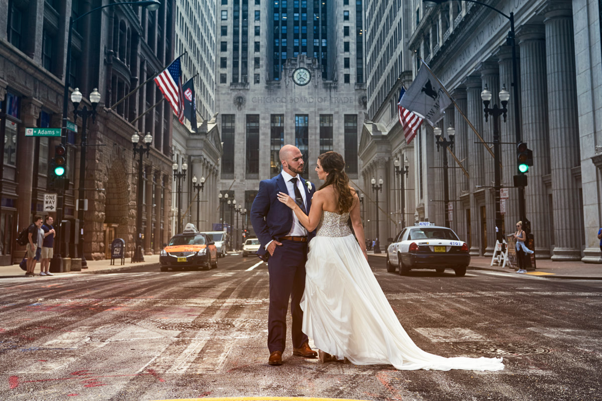 Chicago Stock Exchange wedding portrait