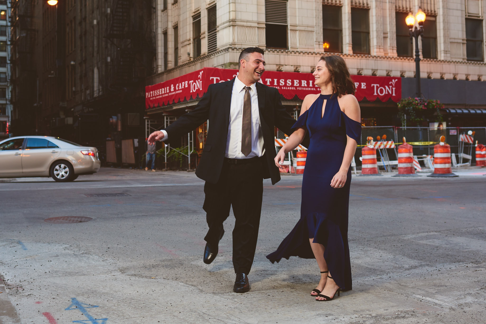 Fun engagement portrait in Chicago