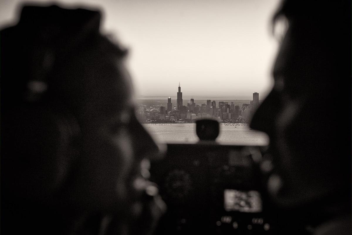 Engagement flight around Chicago