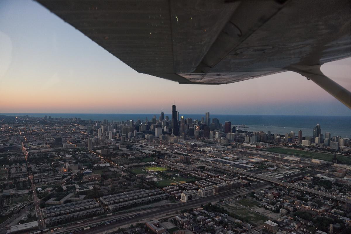 Engagement flight around Chicago skyline