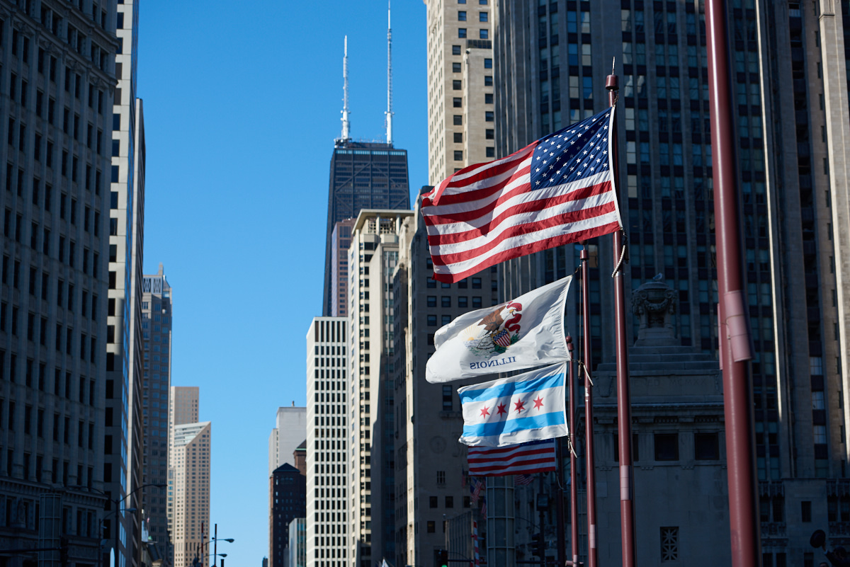 Chicago Michigan Avenue flags
