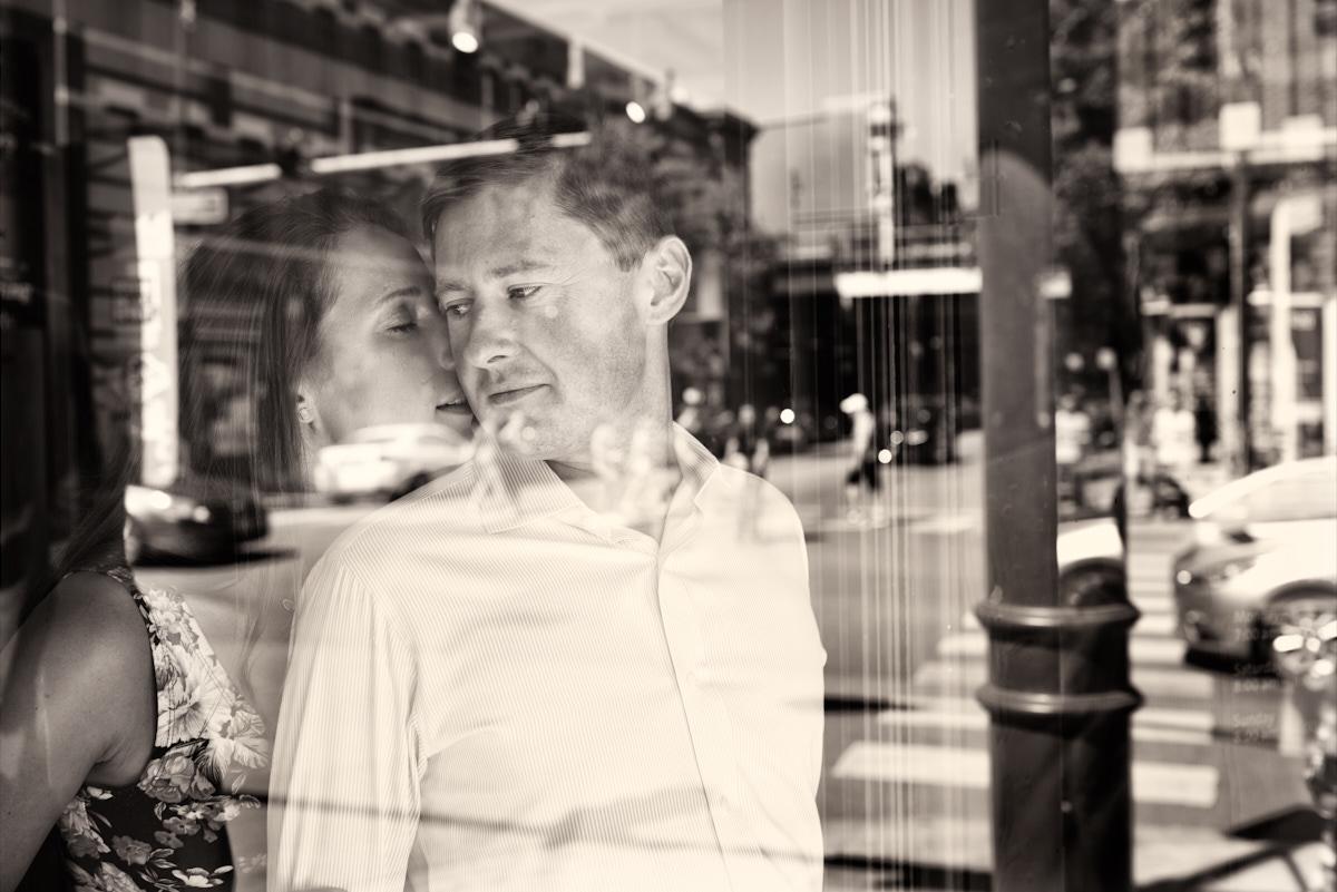 Engagement photos at Le Pain Quotidien