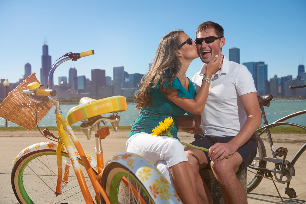 Vintage bicycle engagement session featuring Chicago skyline