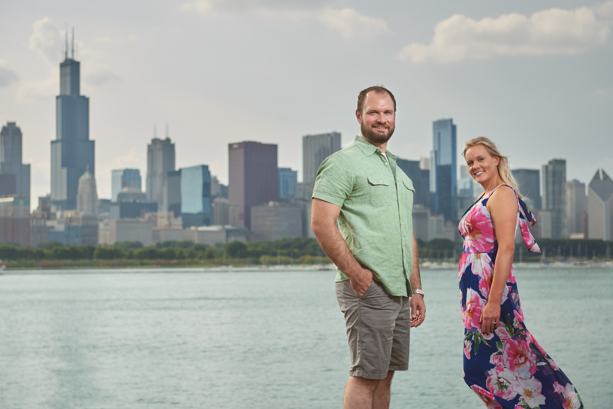 Cute skyline engagement portrait