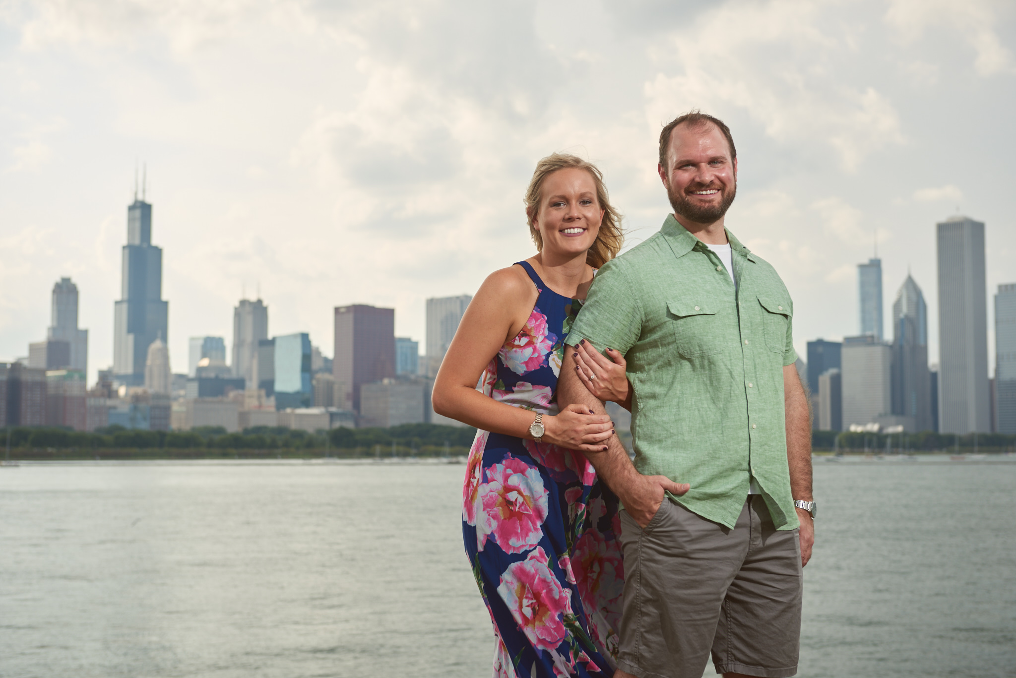 Chicago skyline engagement portrait