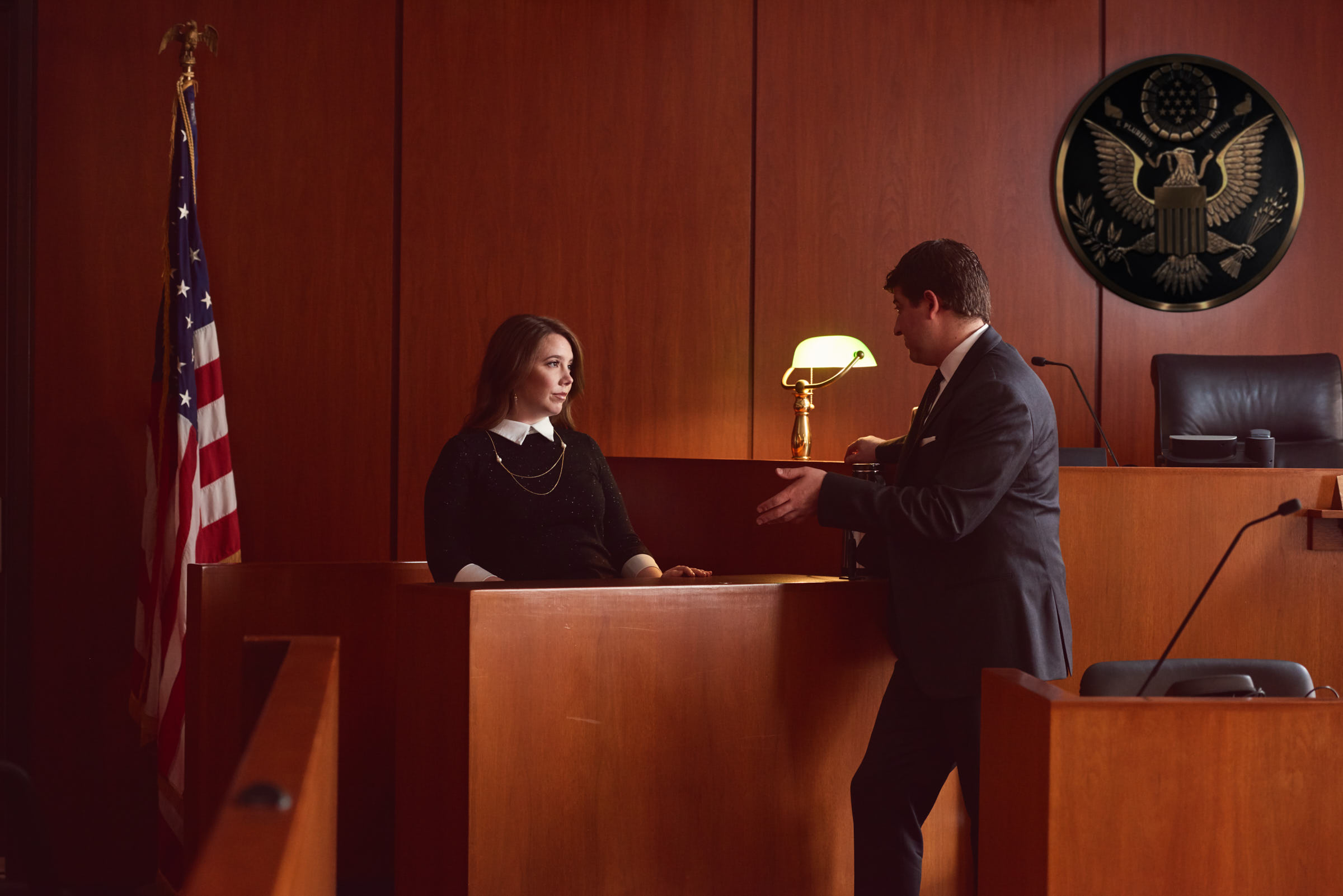 Engagement portrait on the witness stand