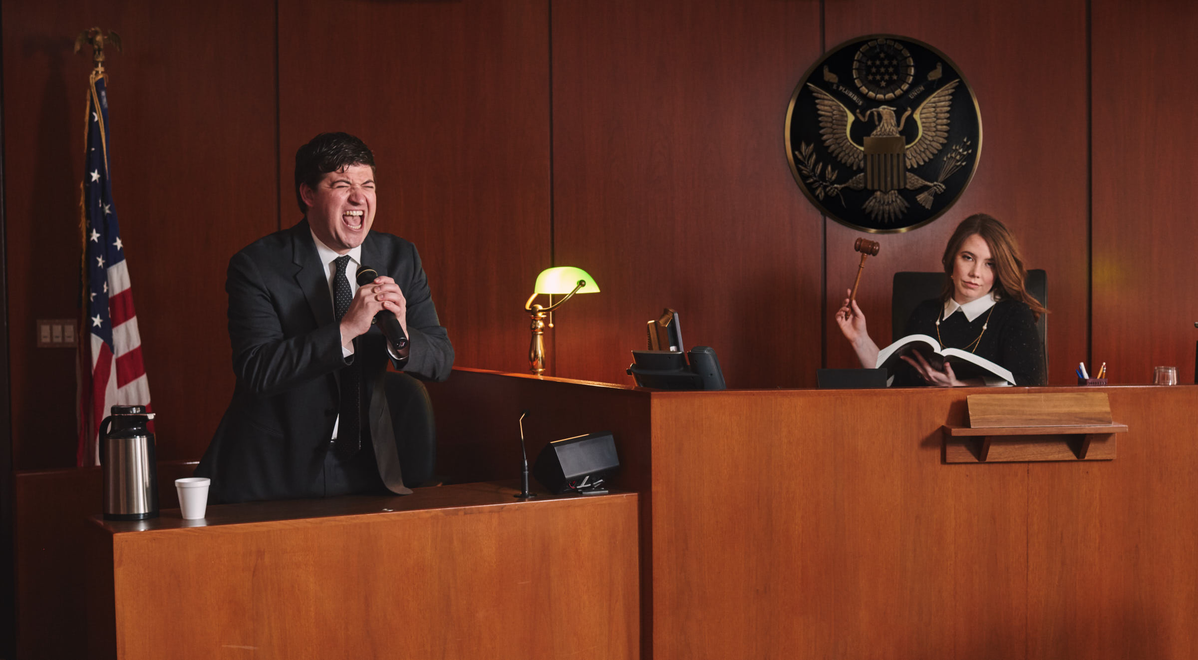 Funny engagement in the courtroom