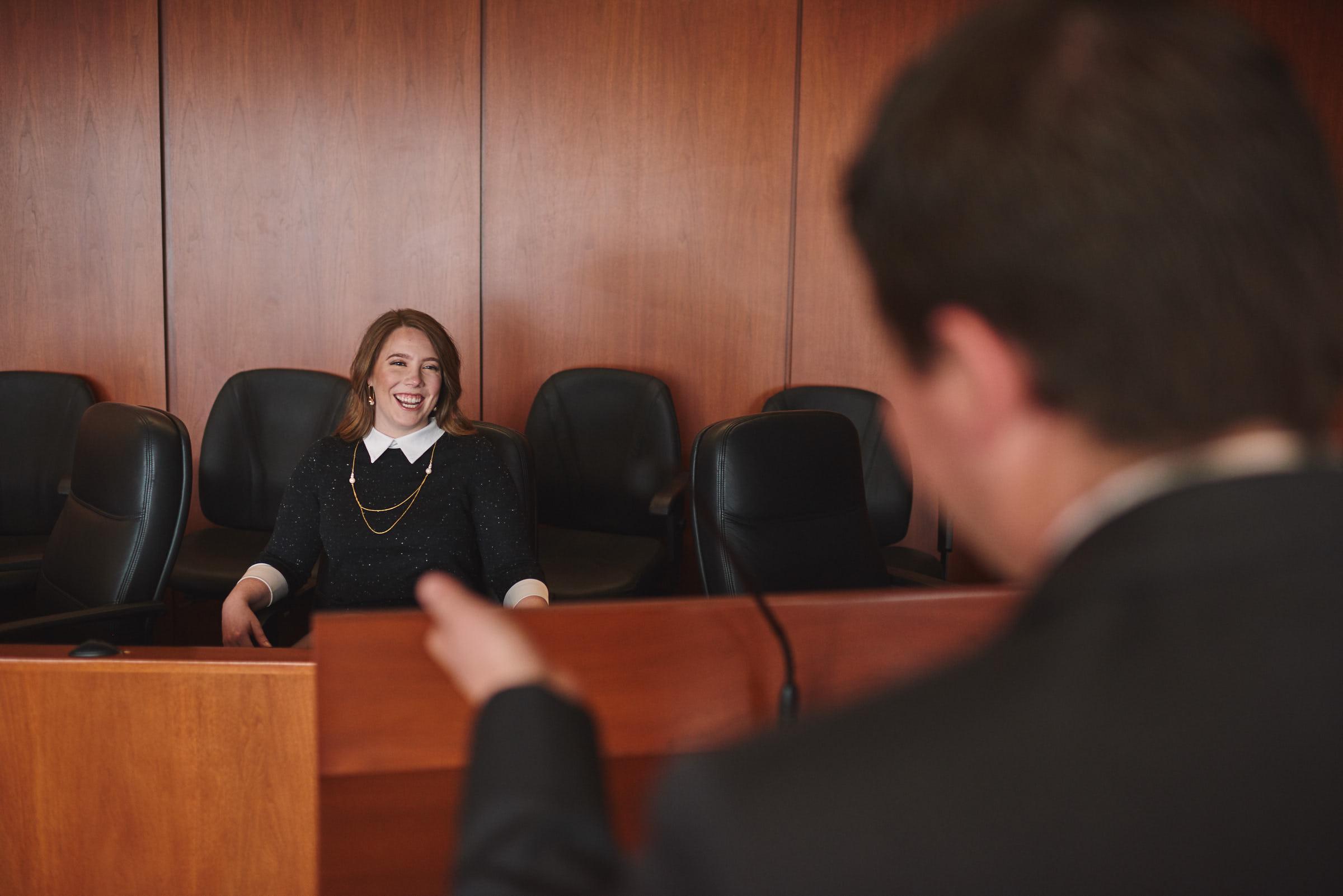 Fun loving portrait in jury box