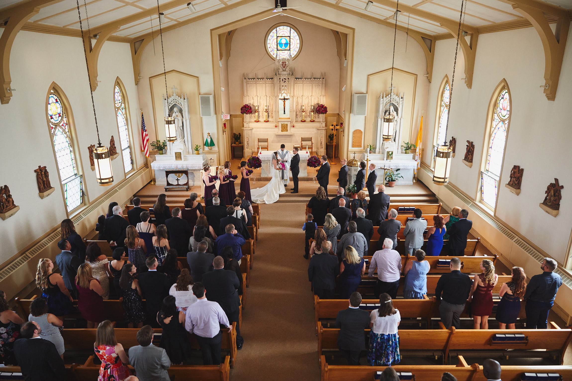 Wide angle wedding at St Mary's Little Church