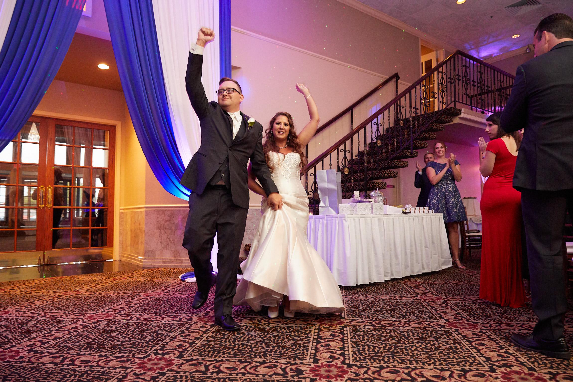 Bride and groom wedding reception introduction