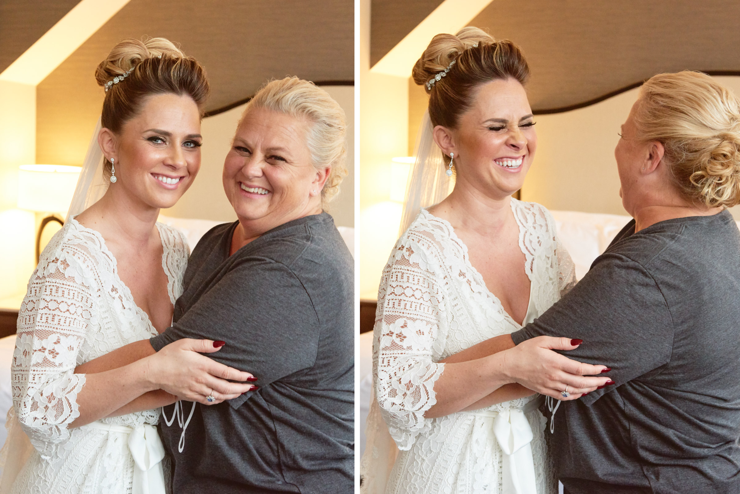 Bride and mom wedding portrait at Intercontinental Chicago