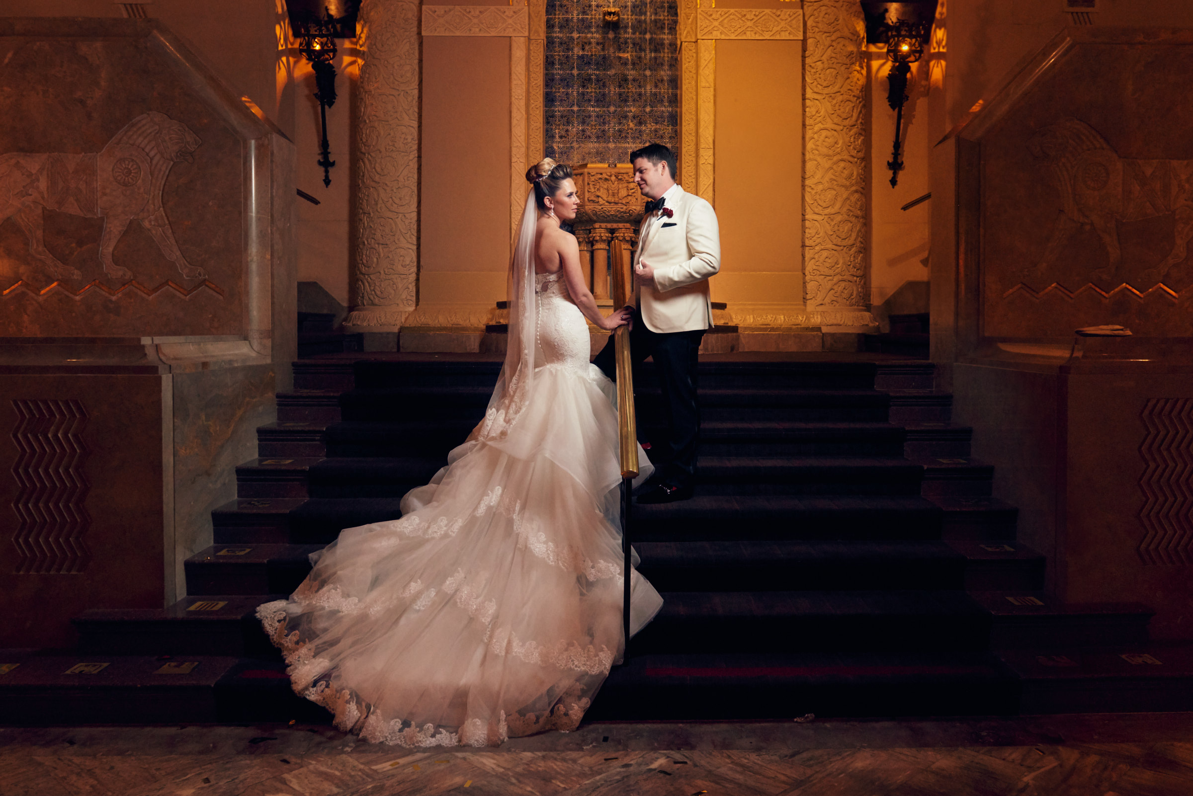 Bride and groom wedding portrait at Lions Hall