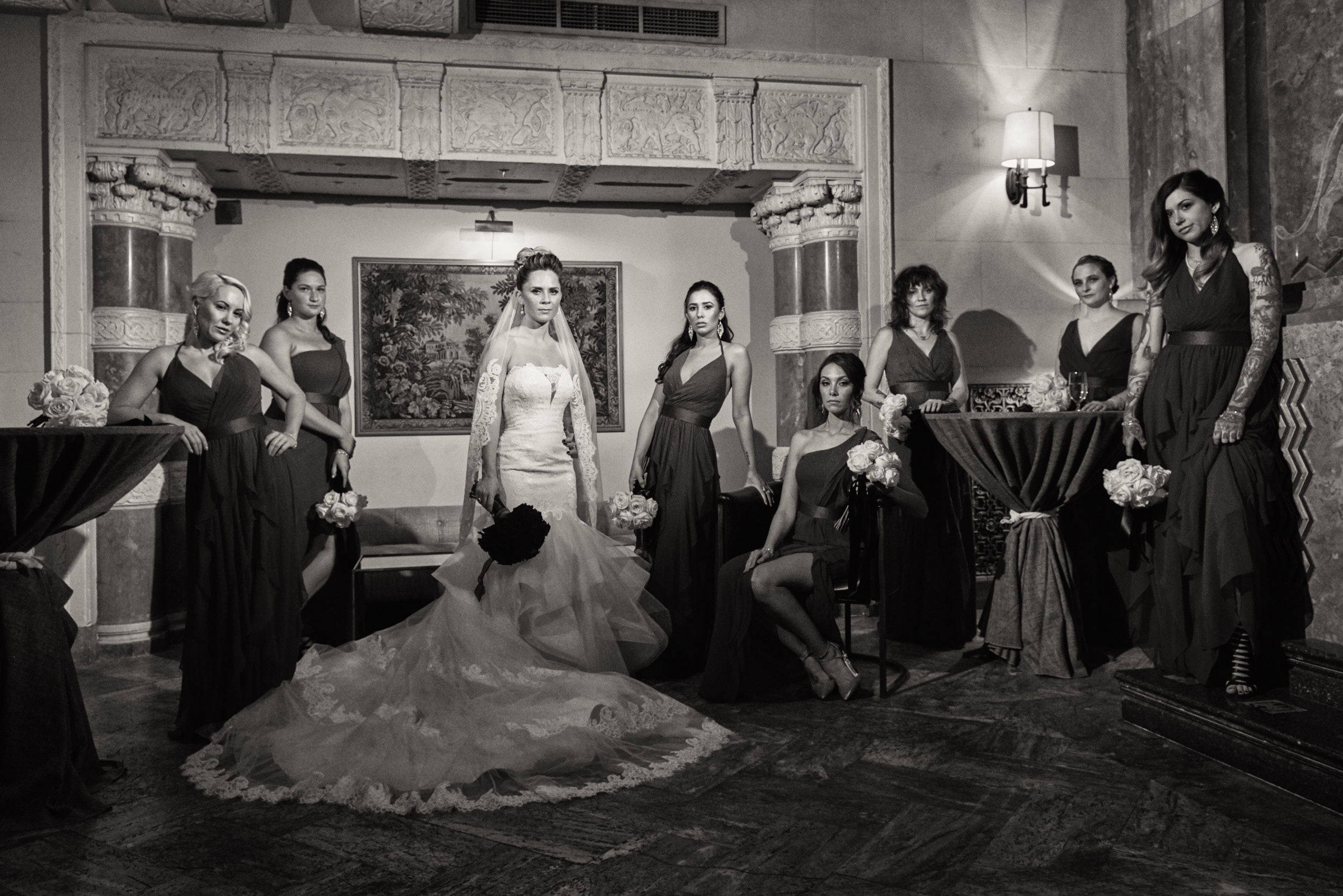 Dramatic bridesmaids portrait