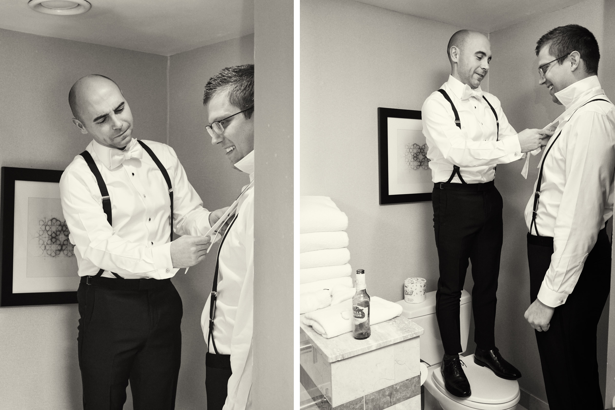 Funny very tall and short groomsmen