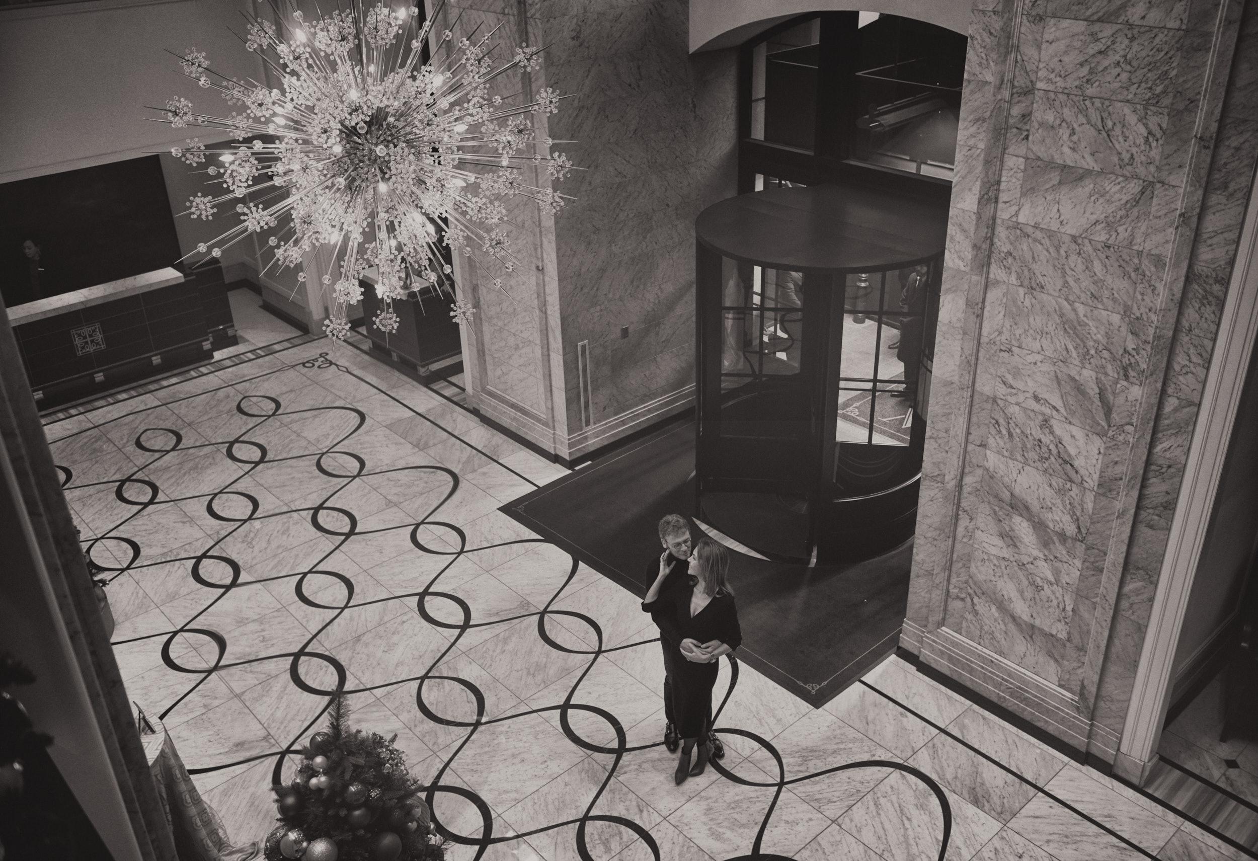 Waldorf Astoria classic engagement portrait